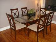 Beautiful 7 Pc glass dining room set for sale
