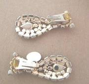 Vintage Hobe Dangle Earrings - Moonstone & AB Rhinestones