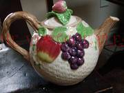 Fitz & Floyd Teapot Fruit Fair Pattern